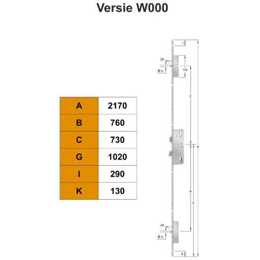 KFV AS2300 meerpuntsluiting W000 - Technische tekening