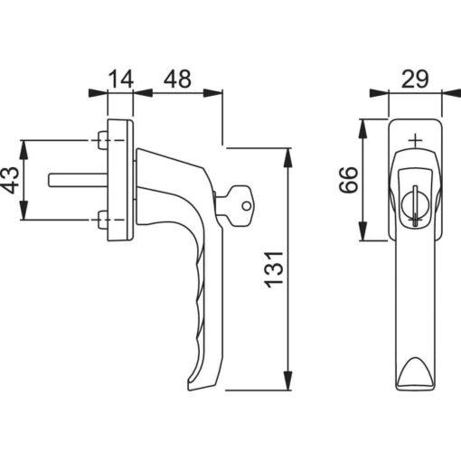 Hoppe afsluitbare raamkruk - Technische tekening