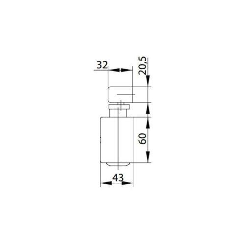 Assa Abloy DC135 - Technische tekening zijaanzicht