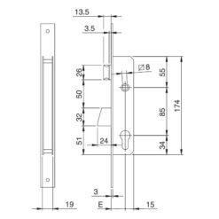 Iseo Electa dagschoot - Technische tekening