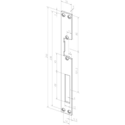 Eff Eff sluitplaat voor elektrische deuropener RVS - Technische tekening