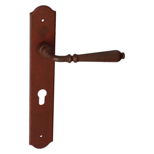 HDD PRO 6.112.071 deurkruk Elegeance op plaat - Roest - Met cilinderopening