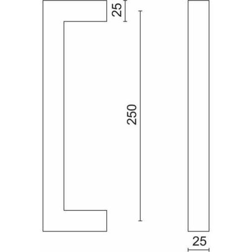 Trekker Cubica 250 Mm Inox Plus - Tekening.Jpg - Slotenonline