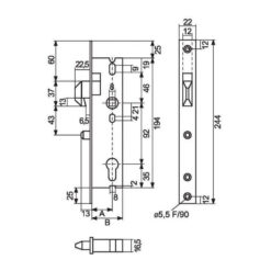 Stremler haakslot - Technische tekening