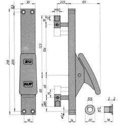 DENI stangenslot 4195 1025 01 - Technische tekening
