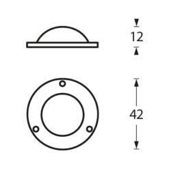 Intersteel Afdekplaatje Deurknop mat zwart - Technische tekening
