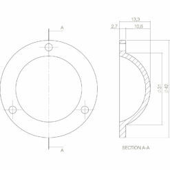 Intersteel Afdekplaatje Deurknop nikkel - Technische tekening