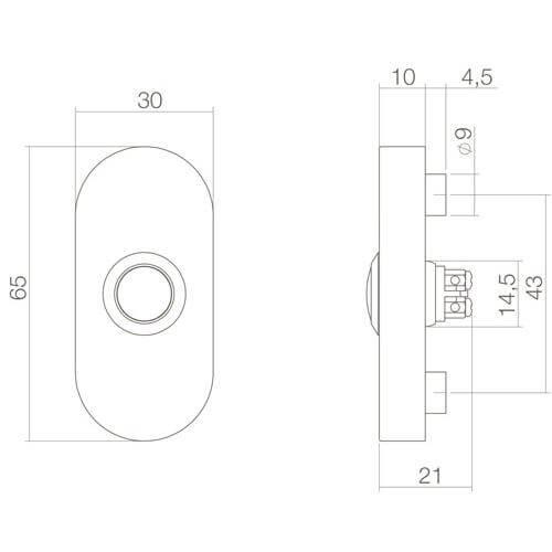 Intersteel Deurbel ovaal verdekt 65 x 30 x 10 mm INOX/mat zwart - Technische tekening