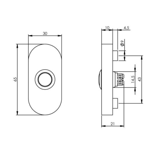 Intersteel Deurbel ovaal verdekt 65x30x10 Koper titaan PVD - Technische tekening