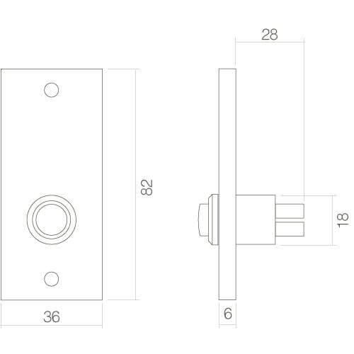 Intersteel Deurbel rechthoekig chroom - Technische tekening