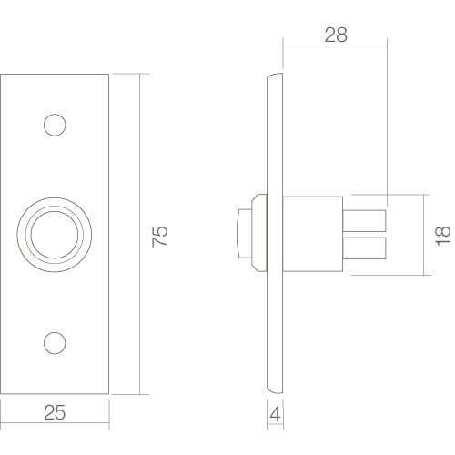 Intersteel Deurbel rechthoekig smal chroom - Technische tekening