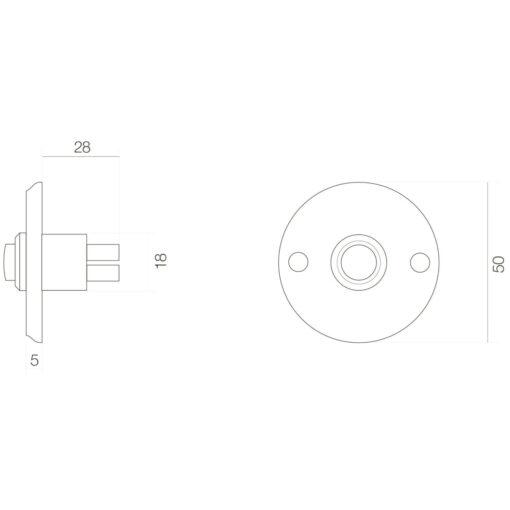 Intersteel Deurbel rond schroefmodel Koper gebruineerd - Technische tekening