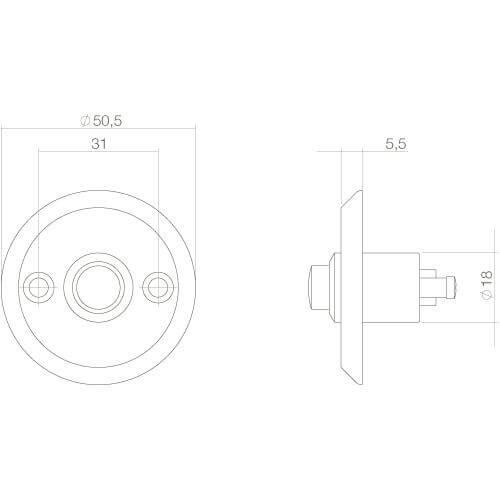 Intersteel Deurbel rond schroefmodel Koper ongelakt - Technische tekening