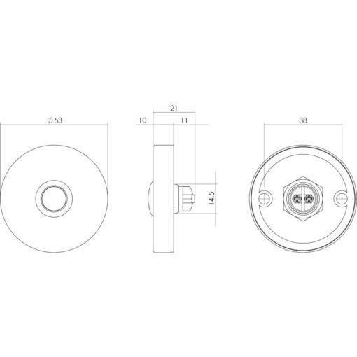 Intersteel Deurbel rond verdekt diameter 53x10 INOX/mat zwart - Technische tekening