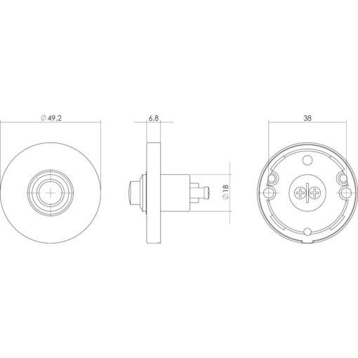 Intersteel Deurbel rond verdekt nikkel mat - Technische tekening