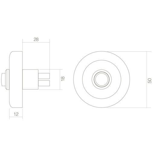 Intersteel Deurbel verdekt rand 50 mm Koper gelakt - Technische tekening