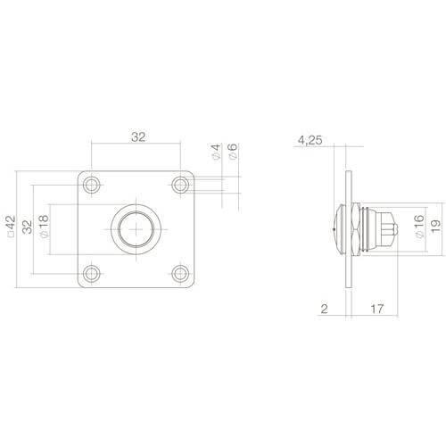 Intersteel Deurbel vierkant INOX/mat zwart - Technische tekening