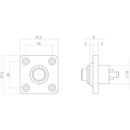 Intersteel Deurbel vierkant klein Koper getrommeld - Technische tekening