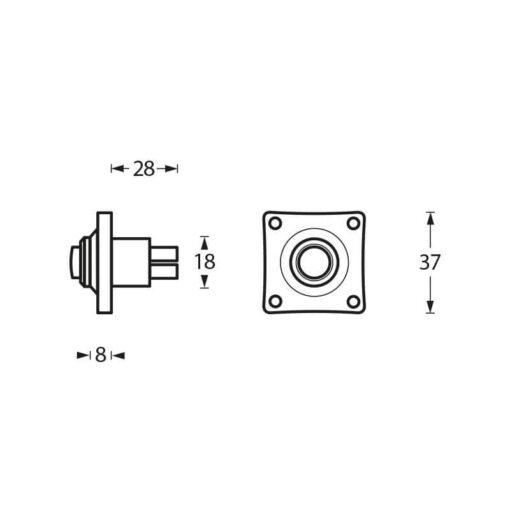 Intersteel Deurbel vierkant klein chroom - Technische tekening
