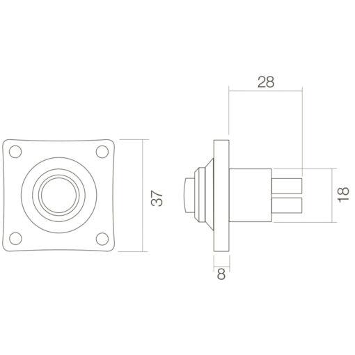 Intersteel Deurbel vierkant klein plat INOX geborsteld - Technische tekening