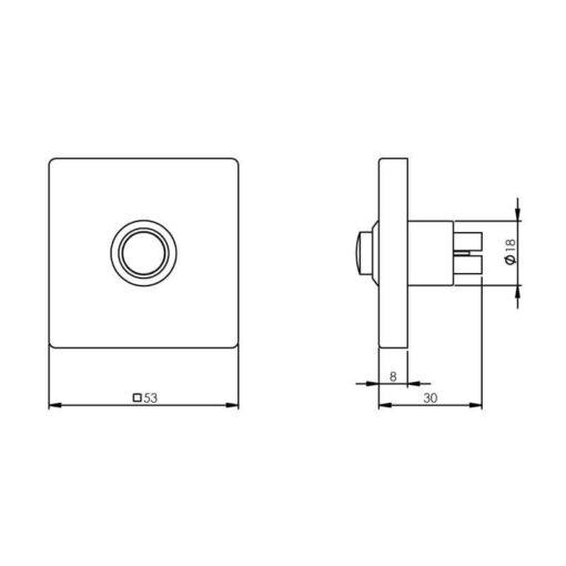 Intersteel Deurbel vierkant verdekt 53 x 53 x 8 mm INOX geborsteld - Technische tekening