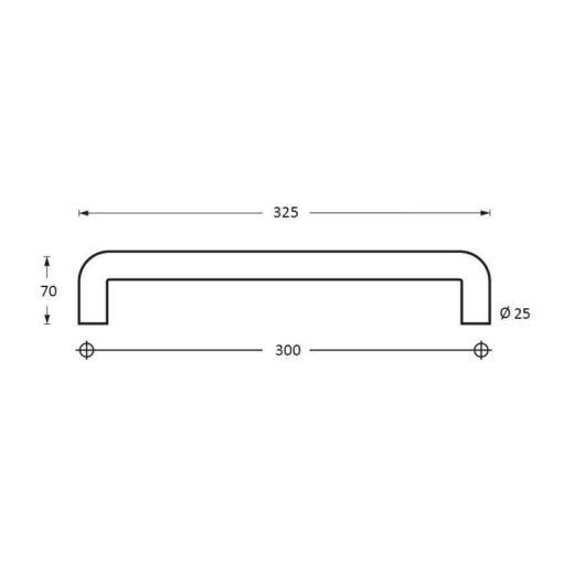 Intersteel Deurgreep 325 mm U-vorm INOX geborsteld - Technische tekening