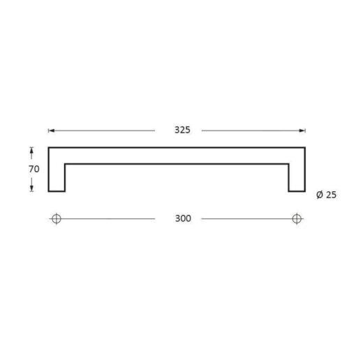 Intersteel Deurgreep 325 mm recht-90° INOX geborsteld - Technische tekening