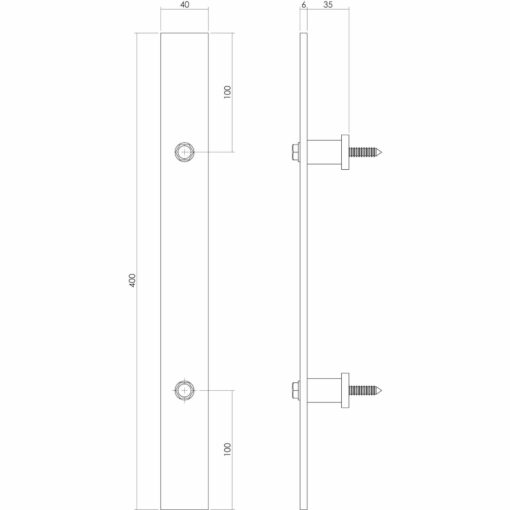 Intersteel Deurgreep 400 x 40 mm antiek - Technische tekening