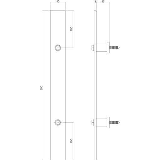 Intersteel Deurgreep 800 x 40 mm antiek - Technische tekening