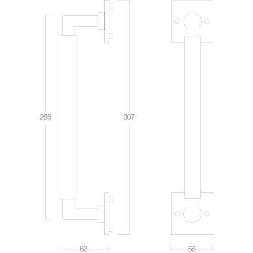 Intersteel Deurgreep Bau-Stil 307 mm nikkel mat - Technische tekening