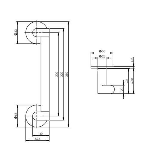 Intersteel Deurgreep Erik Munnikhof Dock Solid 250 mm INOX geborsteld - Technische tekening