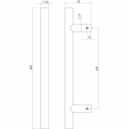 Intersteel Deurgreep T-model diameter 20 mm 300 mm mat zwart - Technische tekening