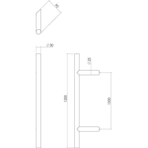 Intersteel Deurgreep T-schuin 1200 mm INOX geborsteld - Technische tekening