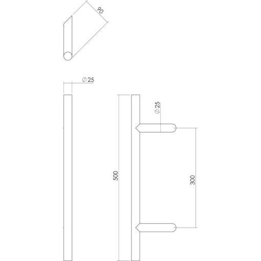 Intersteel Deurgreep T-schuin diameter 25 mm - 500mm INOX geborsteld - Technische tekening