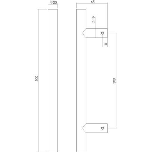 Intersteel Deurgreep T-vorm diameter 20 mm - 500 mm INOX geborsteld - Technische tekening