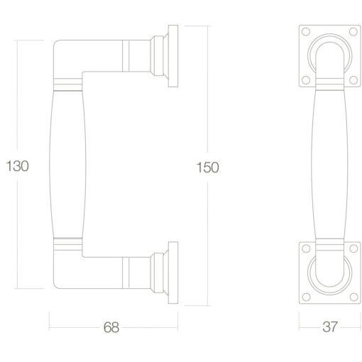Intersteel Deurgreep Ton 150 mm Koper gelakt/ebben hout - Technische tekening