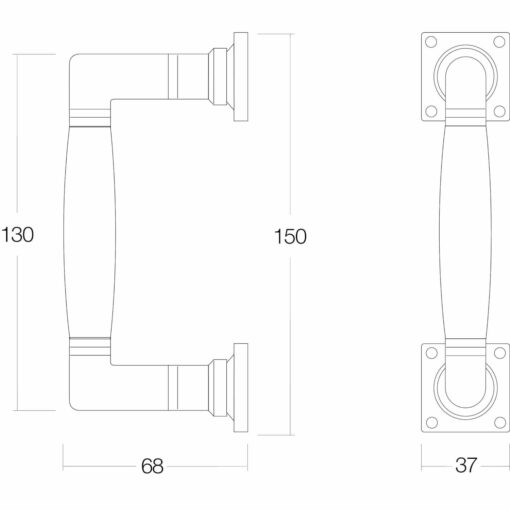 Intersteel Deurgreep Ton 150 mm nikkel mat/ebben hout - Technische tekening