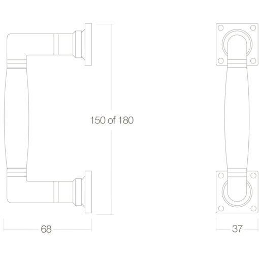 Intersteel Deurgreep Ton 180 mm Koper ongelakt/ebben hout - Technische tekening