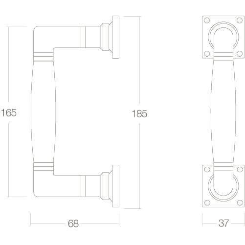 Intersteel Deurgreep Ton 180 mm chroom/ebbenhout - Technische tekening