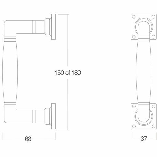 Intersteel Deurgreep Ton 180 mm nikkel/ebben hout - Technische tekening