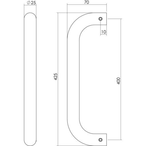 Intersteel Deurgreep U-vorm diameter 25 mm - 425 mm INOX geborsteld - Technische tekening
