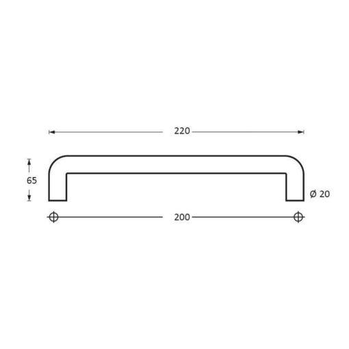 Intersteel Deurgrepen 220 mm U-vorm INOX geborsteld - Technische tekening