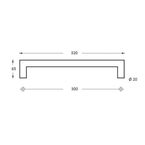 Intersteel Deurgrepen 320 mm recht-90° INOX geborsteld - Technische tekening