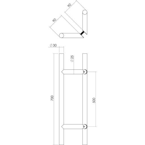 Intersteel Deurgrepen set T-schuin 700 mm INOX geborsteld - Technische tekening