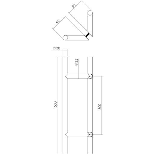 Intersteel Deurgrepen set T-schuin diameter 30 mm - 500 mm INOX geborsteld - Technische tekening