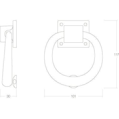 Intersteel Deurklopper rond 107 mm Koper gelakt - Technische tekening