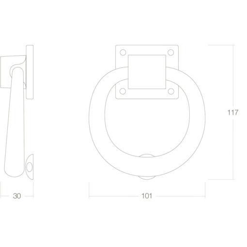 Intersteel Deurklopper rond 107 mm Koper ongelakt - Technische tekening