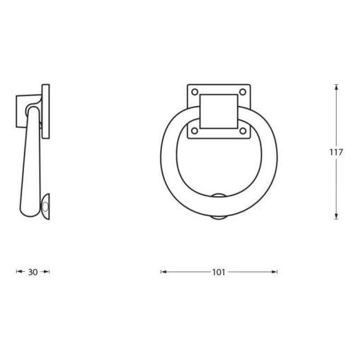 Intersteel Deurklopper rond 107 mm chroom - Technische tekening