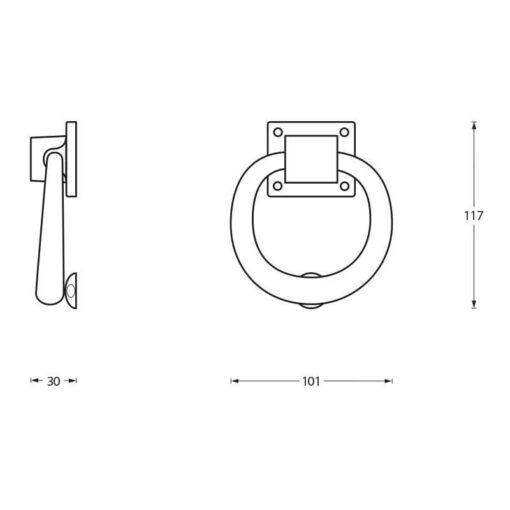 Intersteel Deurklopper rond 107 mm mat zwart - Technische tekening