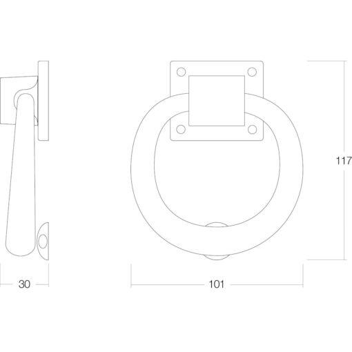 Intersteel Deurklopper rond 107 mm nikkel mat - Technische tekening
